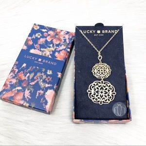 Lucky Brand Double Drop Filigree Pendant Necklace